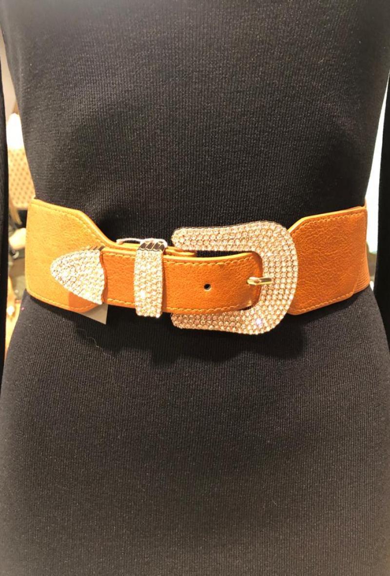 cintura in ecopelle e fibbia con strass Cuoio<br />(<strong>Canonica 63</strong>)