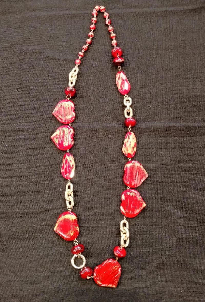 collana con cuori Rosso