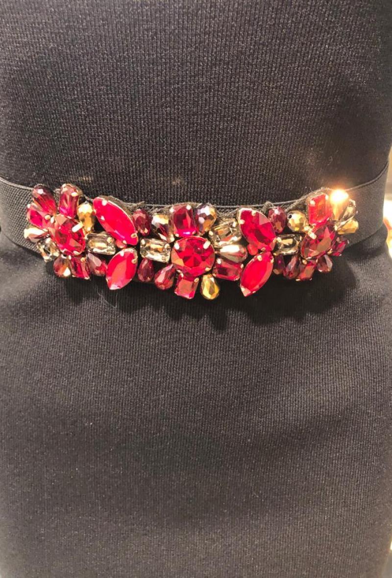 cintura elastica con pietre Rosso<br />(<strong>Canonica 63</strong>)