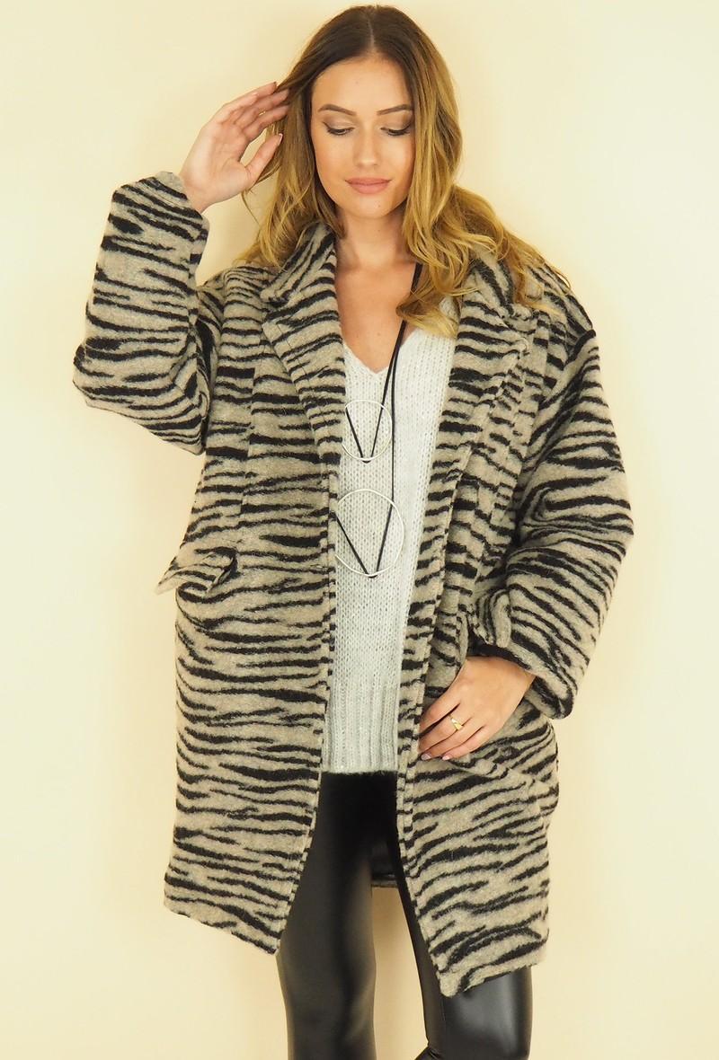 cappotto over in stampa zebra