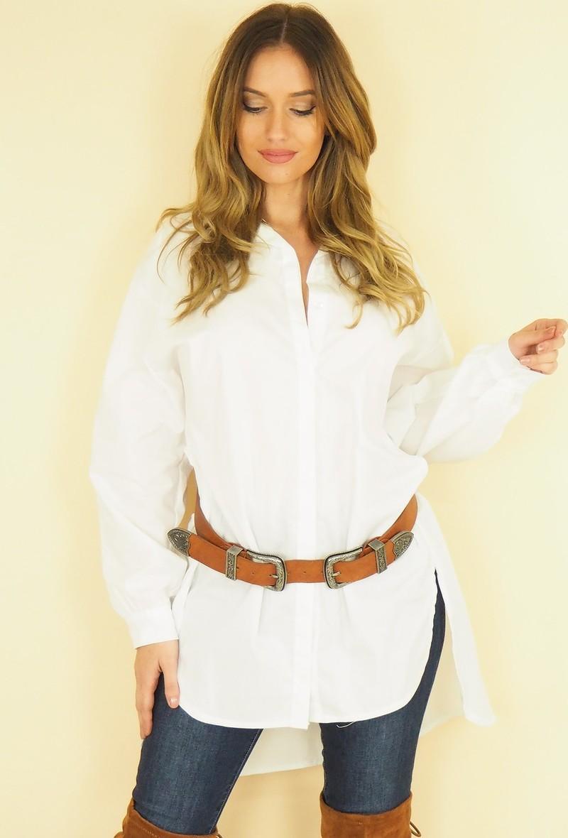 camicia nera a manica lunga asimmetrica Bianco