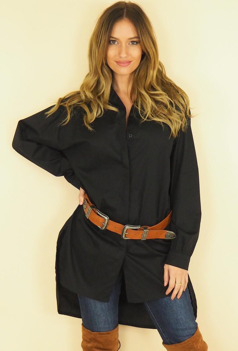 camicia nera a manica lunga asimmetrica Nero
