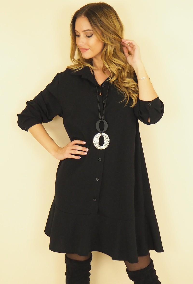 abito nero over a manica lunga con balza in fondo