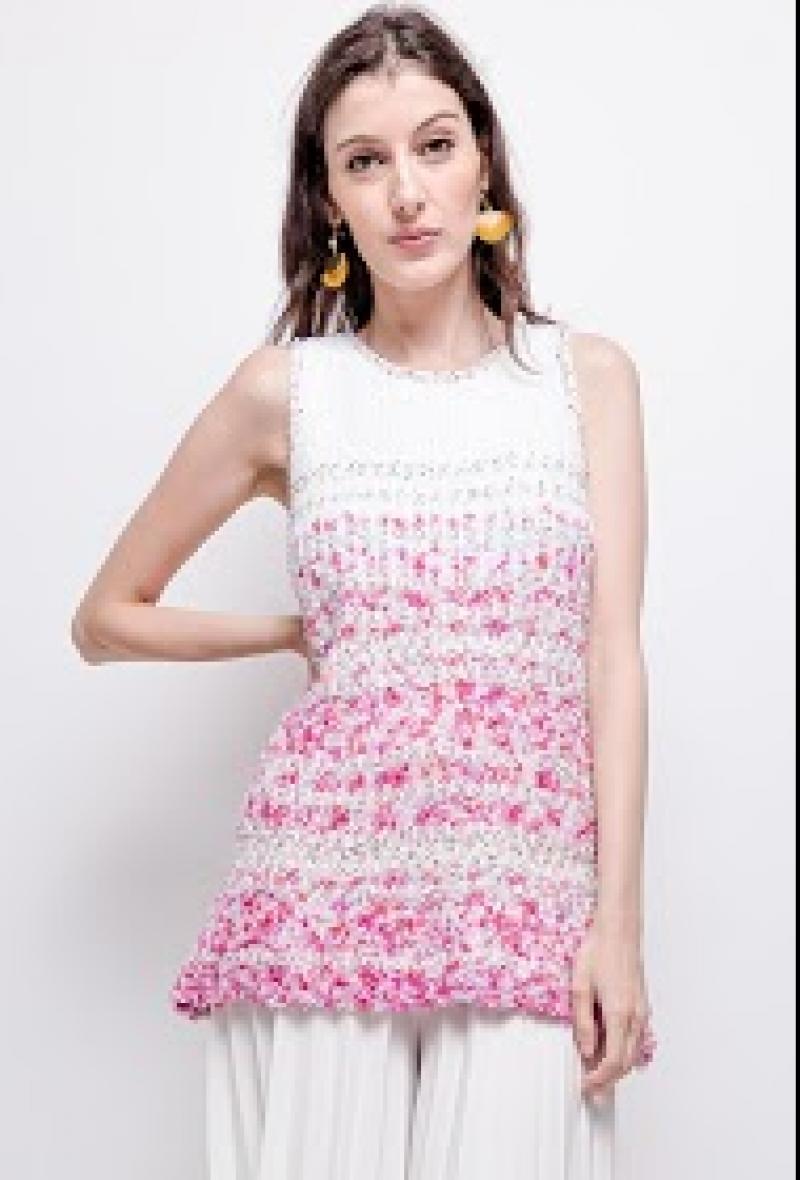 mini dress o maxi pull Bianco/rosa<br />(<strong>Cristina</strong>)