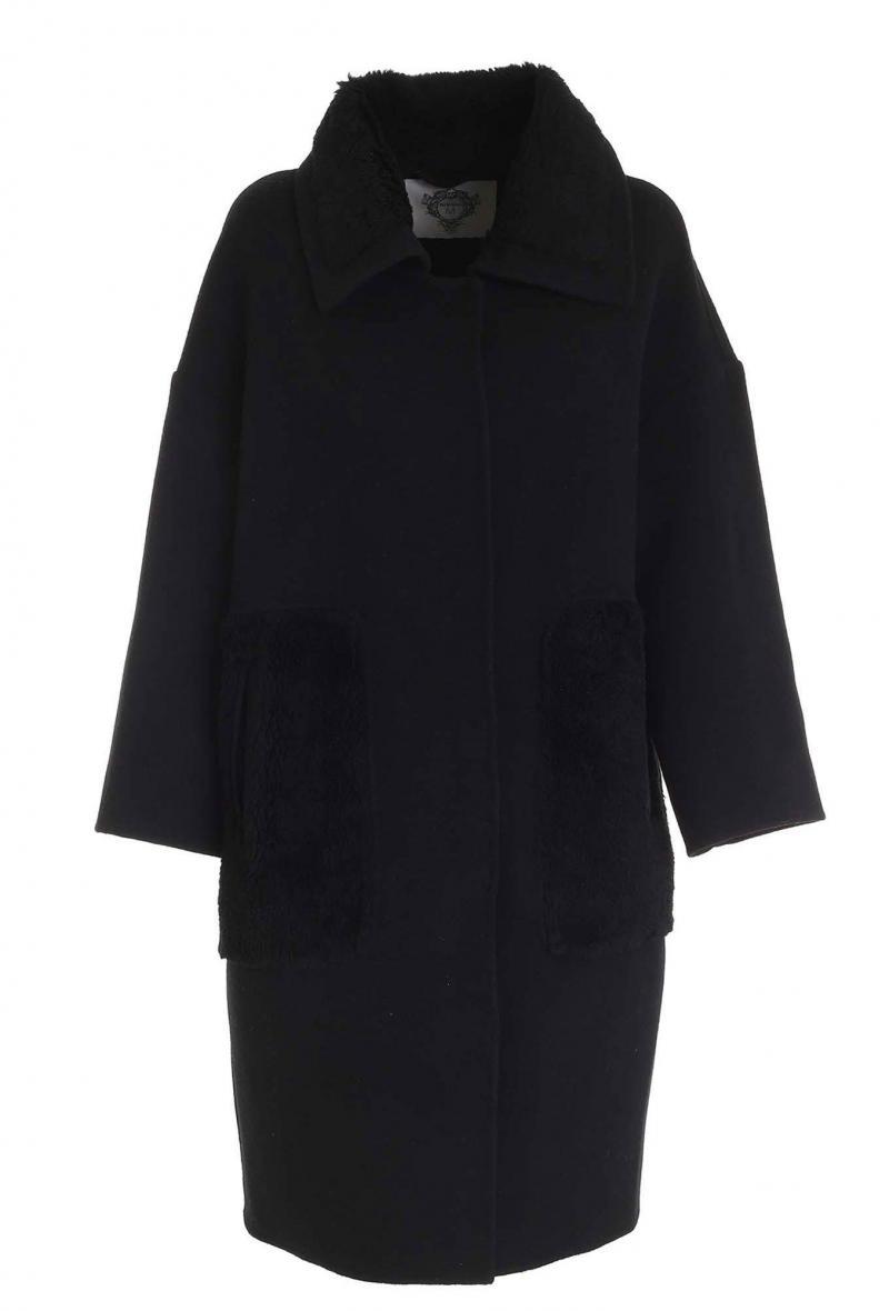 Cappotto Diego M nero in tessuto double con inserti pelliccia sintetica