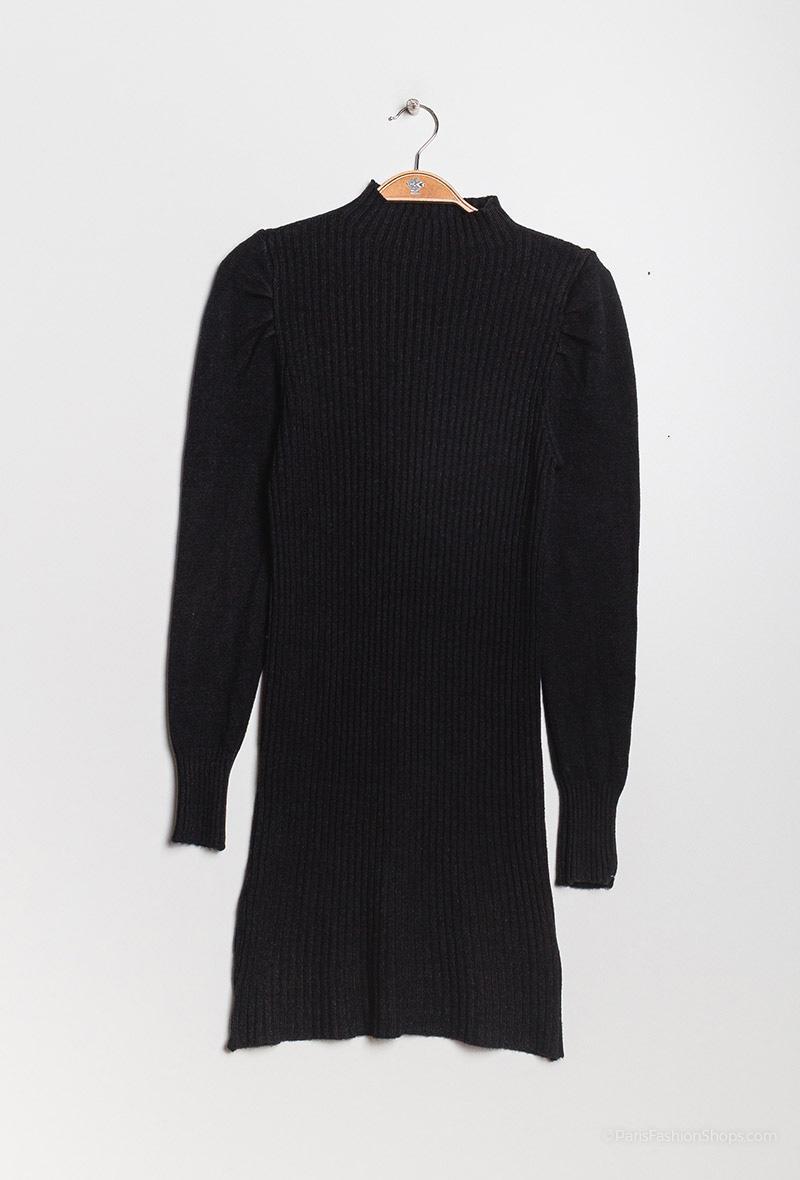 Mini abito a cannetta con mezzo collo Nero