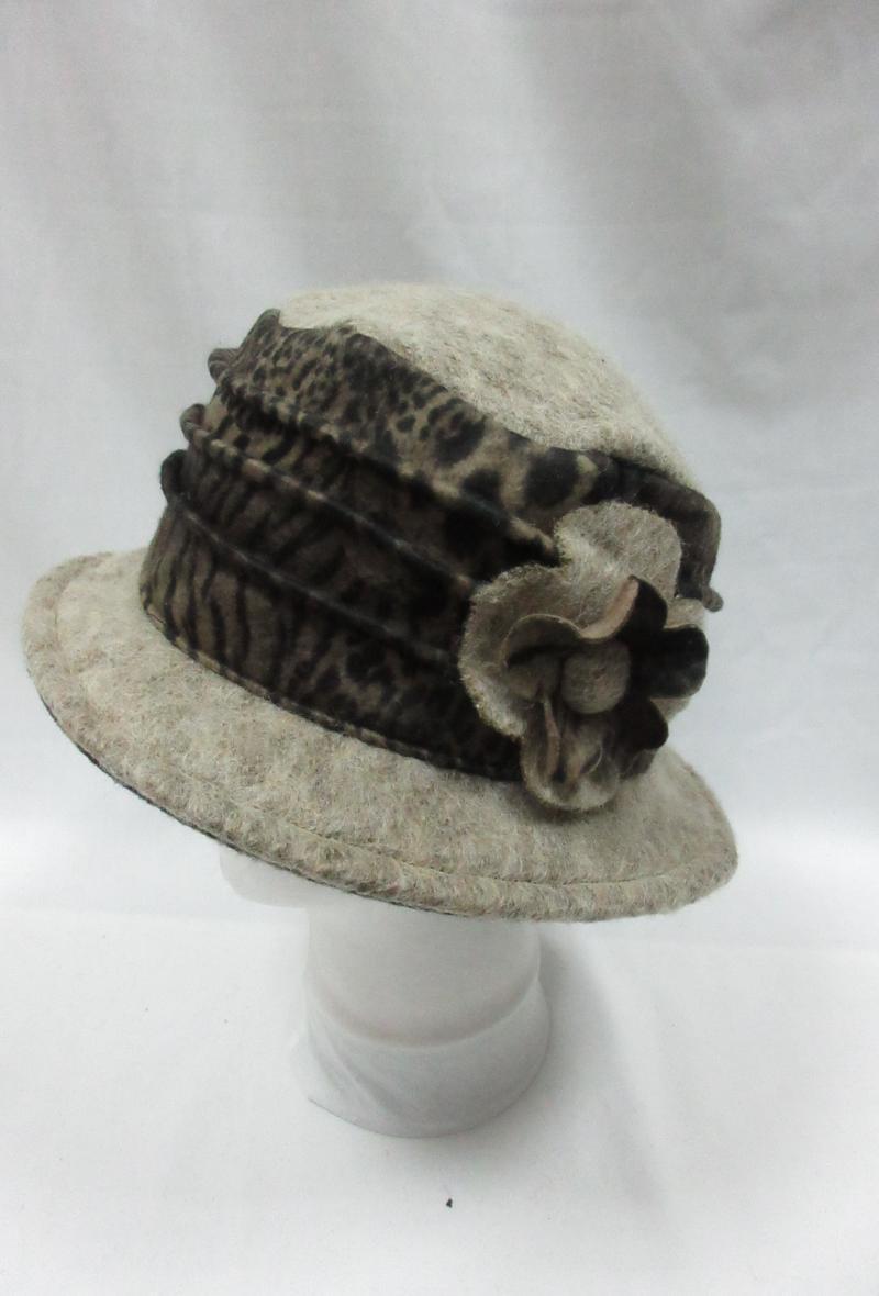 cappello grigio scuro in stile borsalino con motivo animalier Cammello