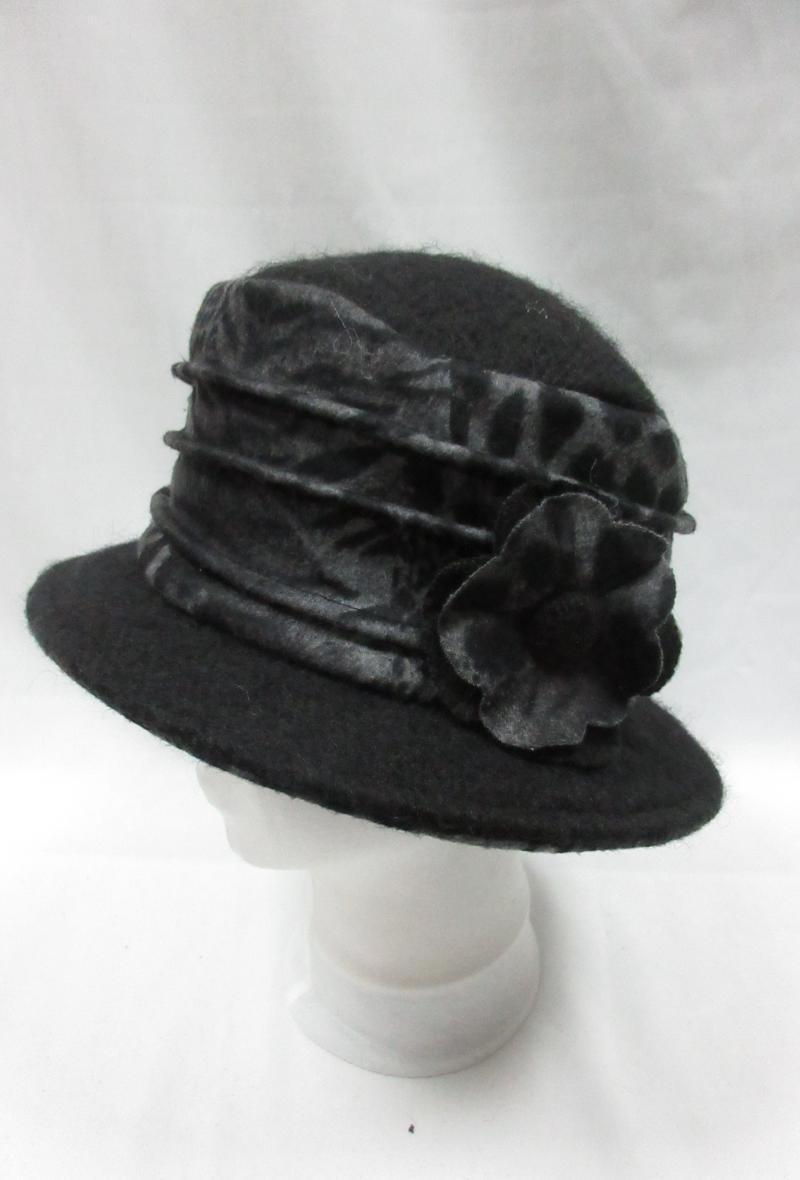 cappello grigio scuro in stile borsalino con motivo animalier Grigio