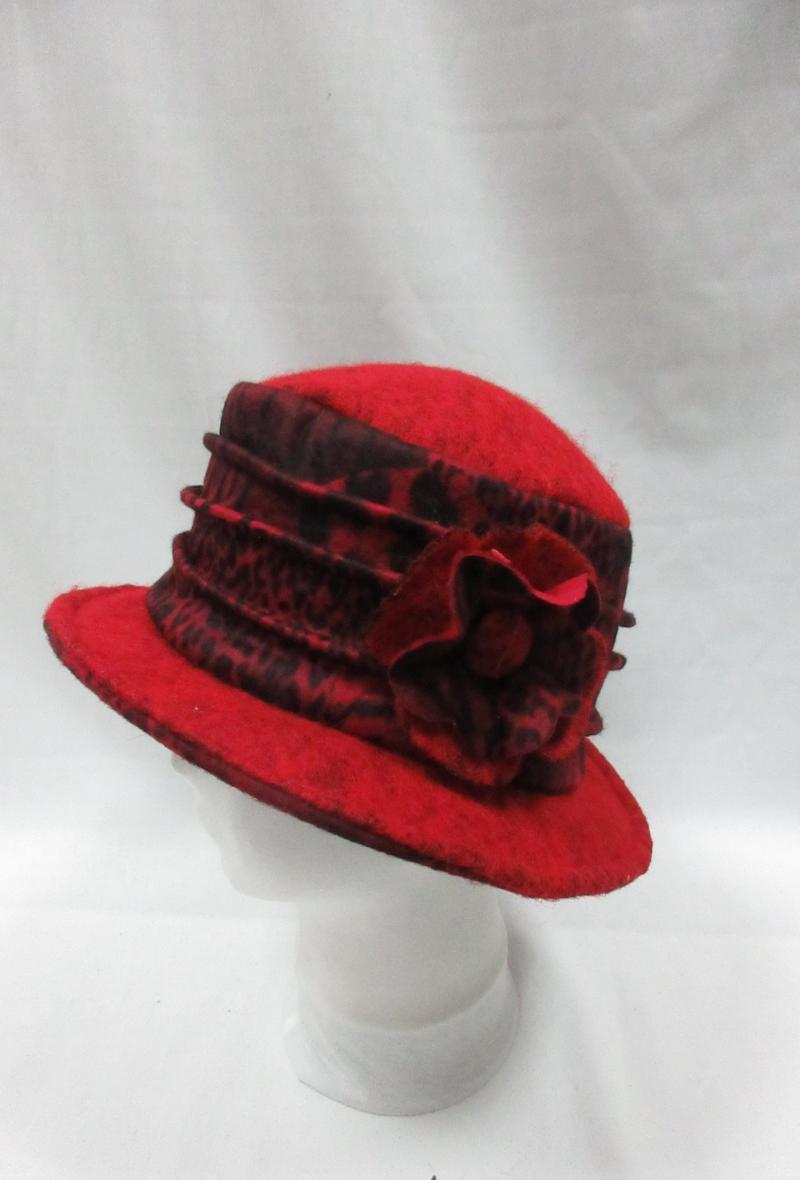 cappello grigio scuro in stile borsalino con motivo animalier Rosso