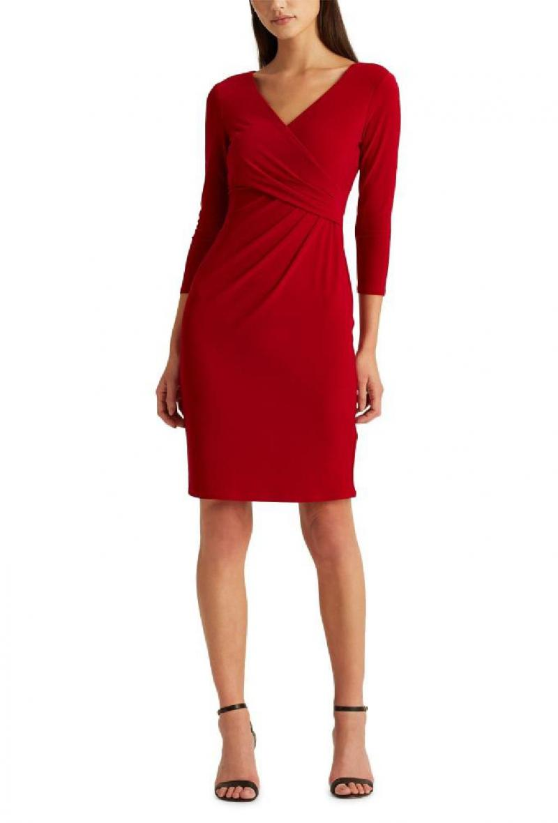 Cleora tubino manica lunga scollo incrocio/cleora long sleeve day dress