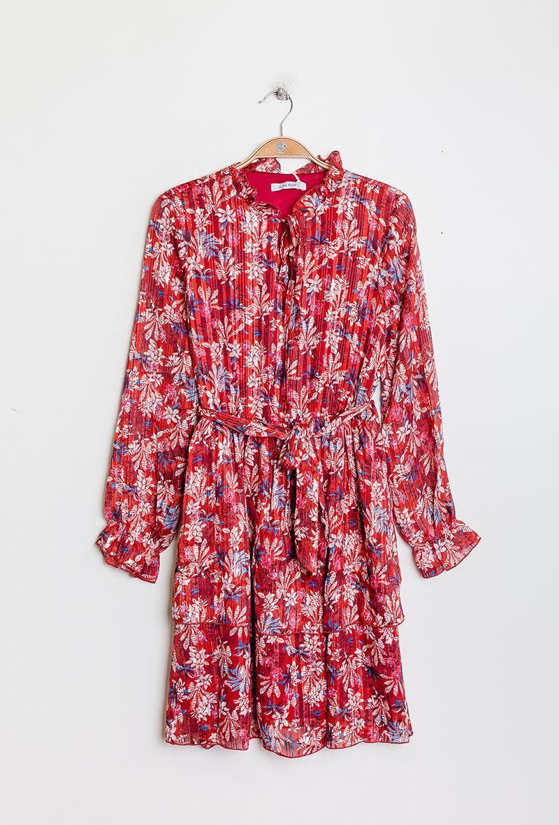 abito con balze stampa palmette Rosso