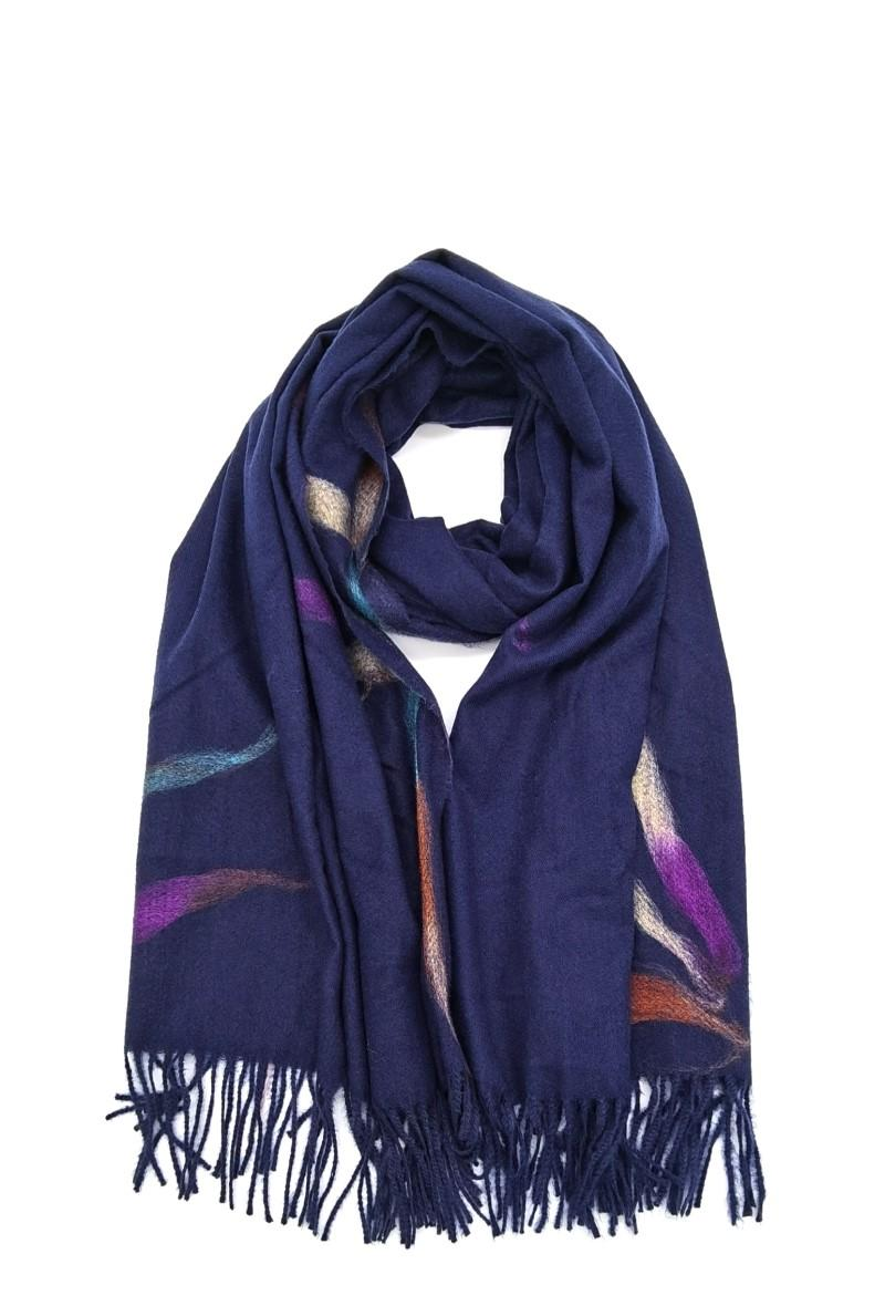 sciarpa rosa antico con frange Blu