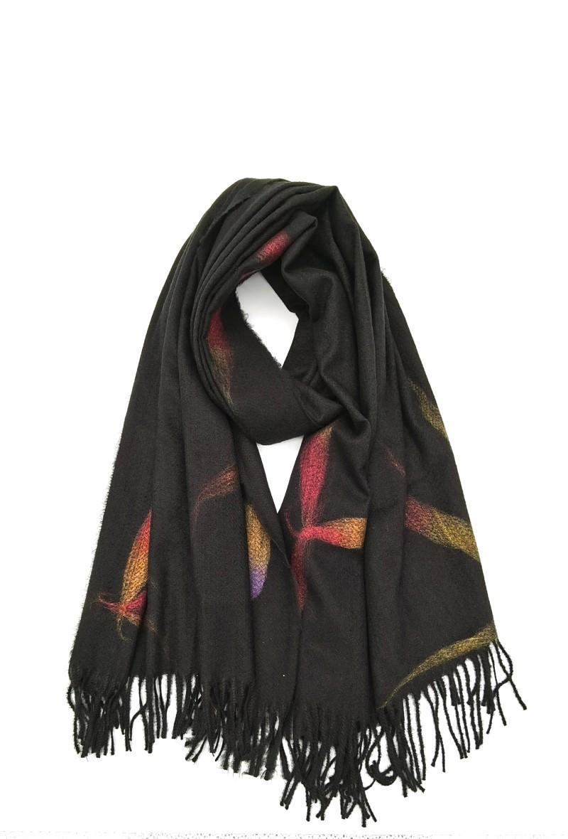 sciarpa rosa antico con frange Nero