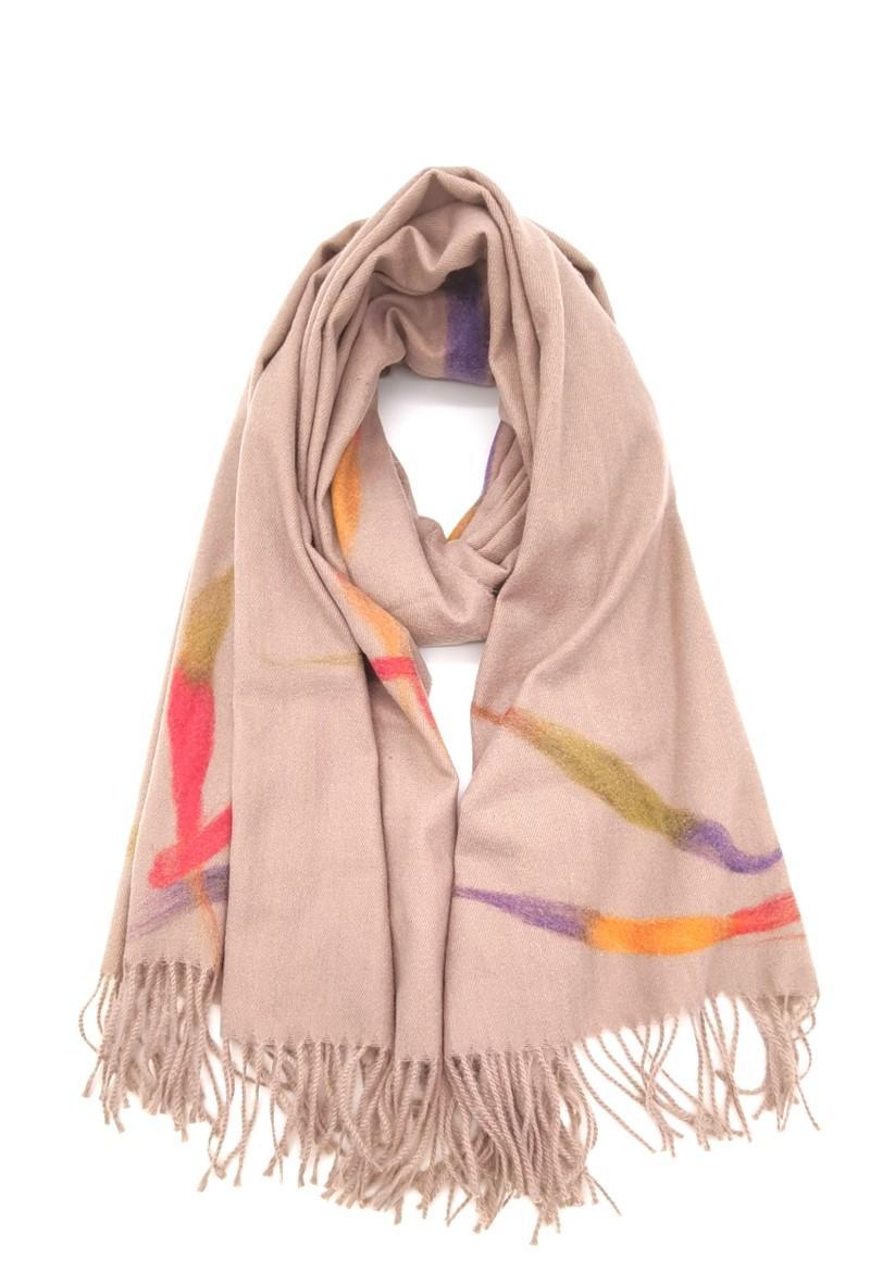 sciarpa rosa antico con frange Rosa antico