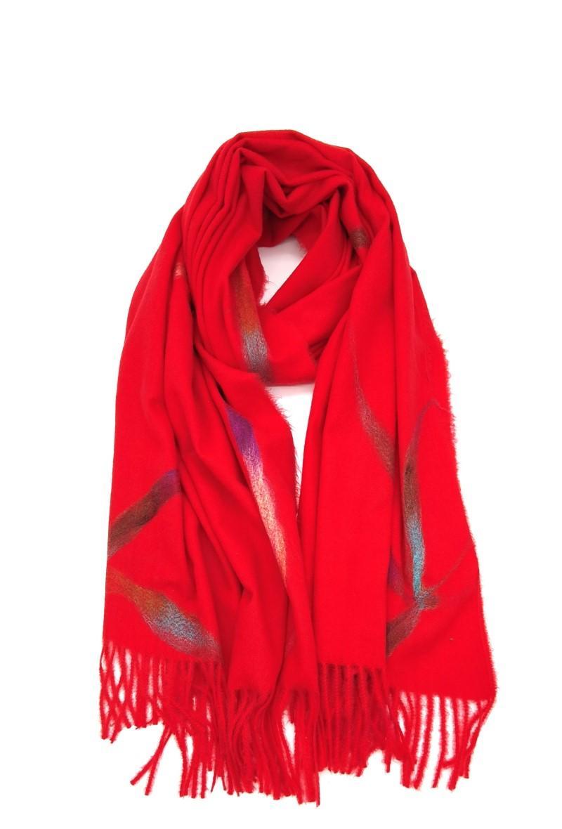 sciarpa rosa antico con frange Rosso