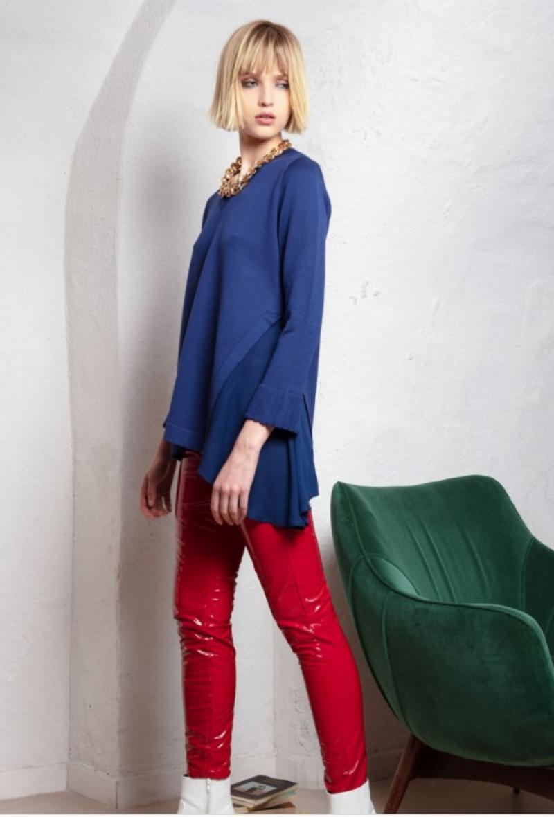 maglia a v con spacco laterale e tessuto Blu<br />(<strong>Neera 20.52</strong>)