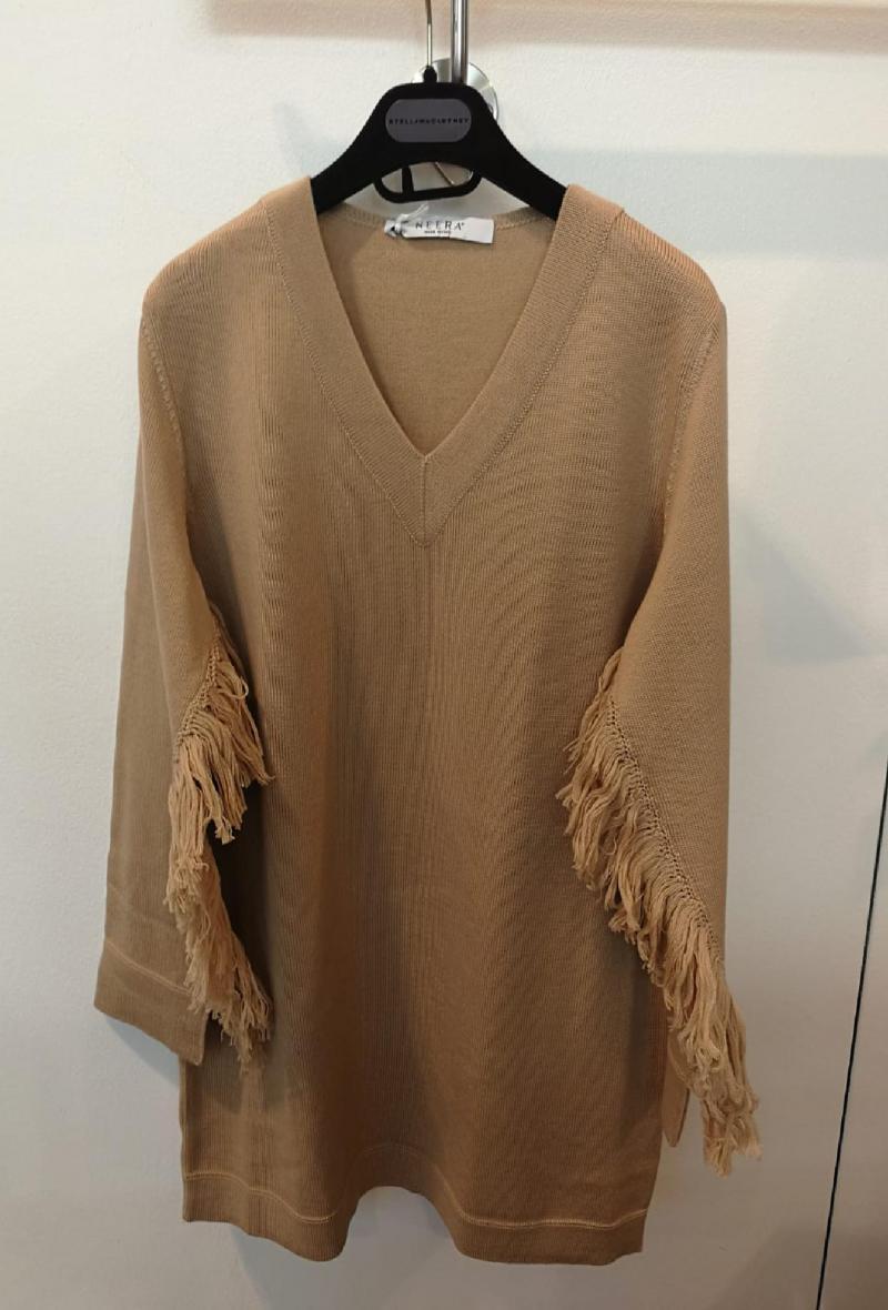 maglia lunga o mini abito con frange Cammello<br />(<strong>Neera 20.52</strong>)