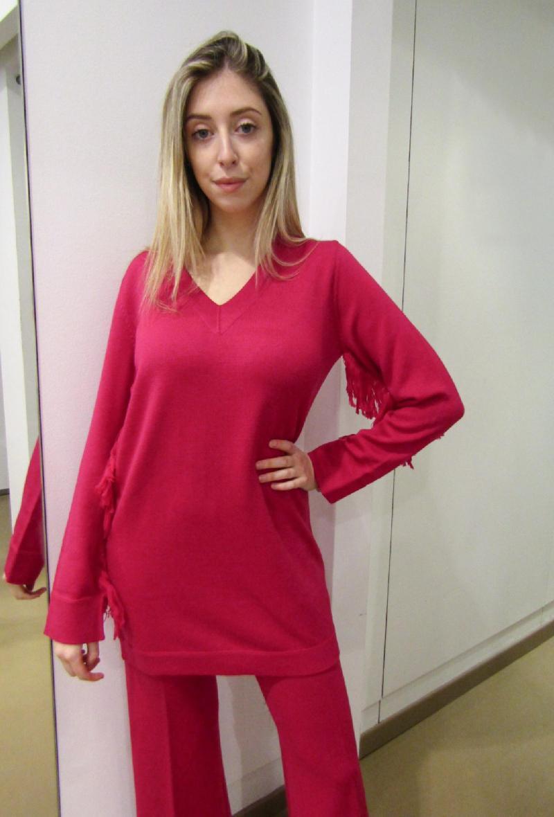 maglia lunga o mini abito con frange Fuxia<br />(<strong>Neera 20.52</strong>)