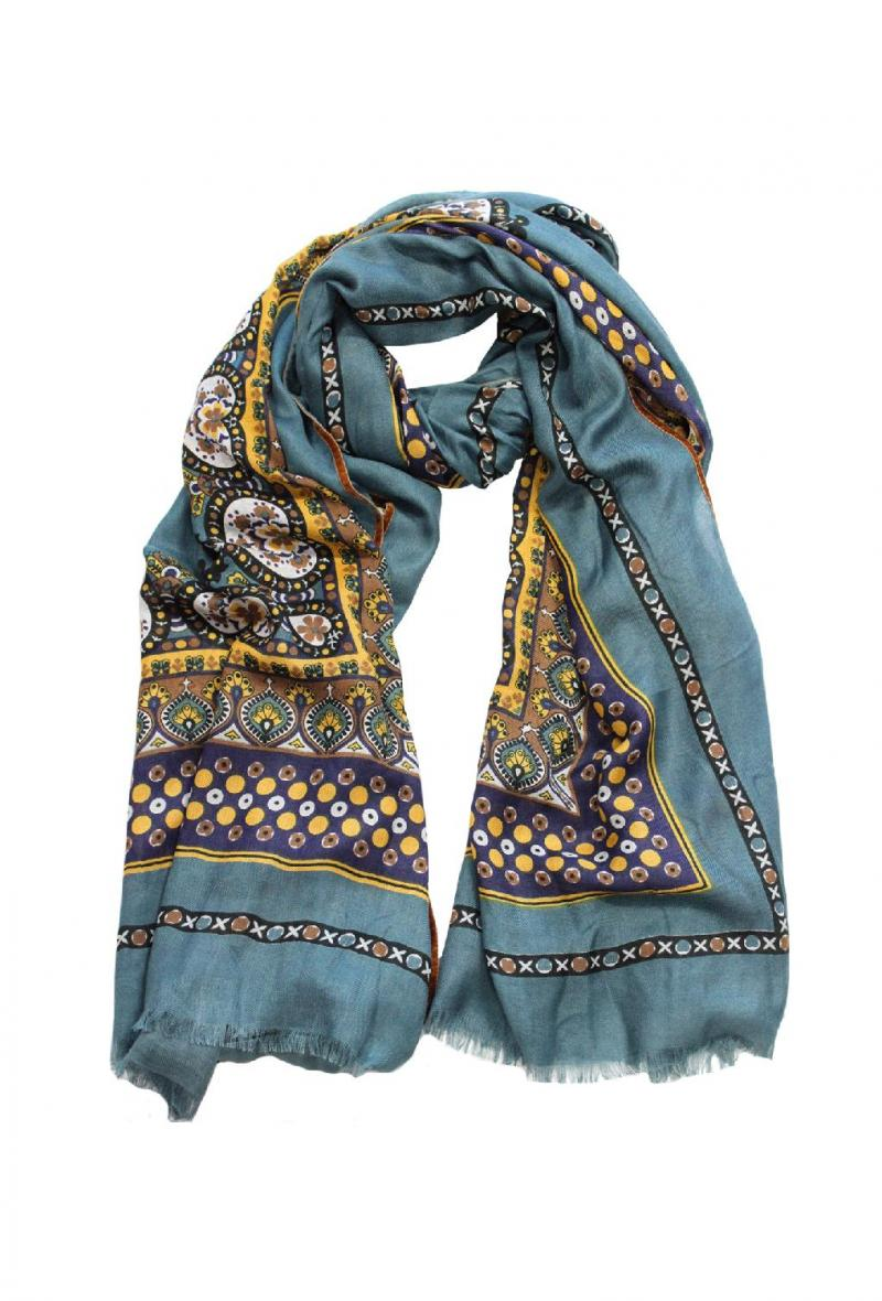 Sciarpa cm100x200 stampa foulard Azzurro<br />(<strong>Ordito</strong>)
