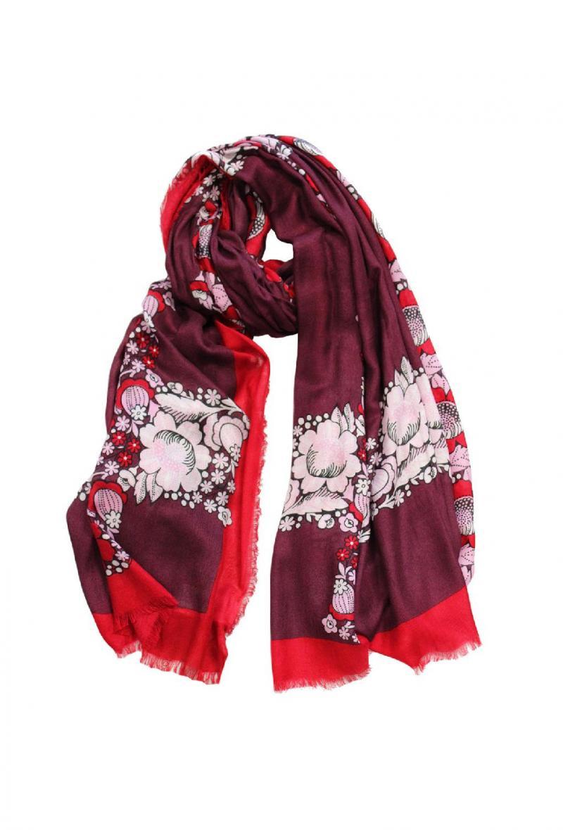Sciarpa cm100x200 stampa floreale Rosso