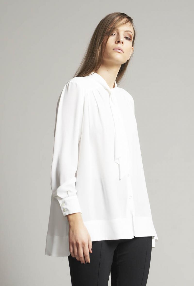 Camicia over ml+fiocco Bianco