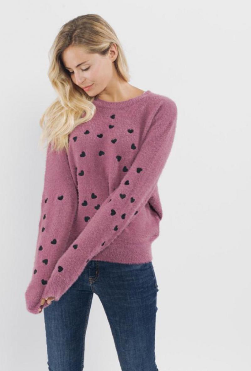 maglia girocollo con cuoricini Rosa