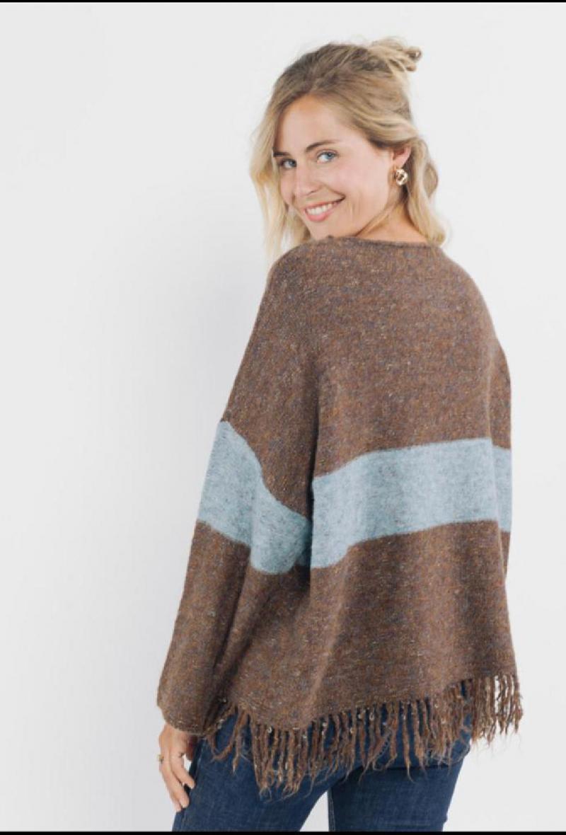 maglione oversize con frange Marrone