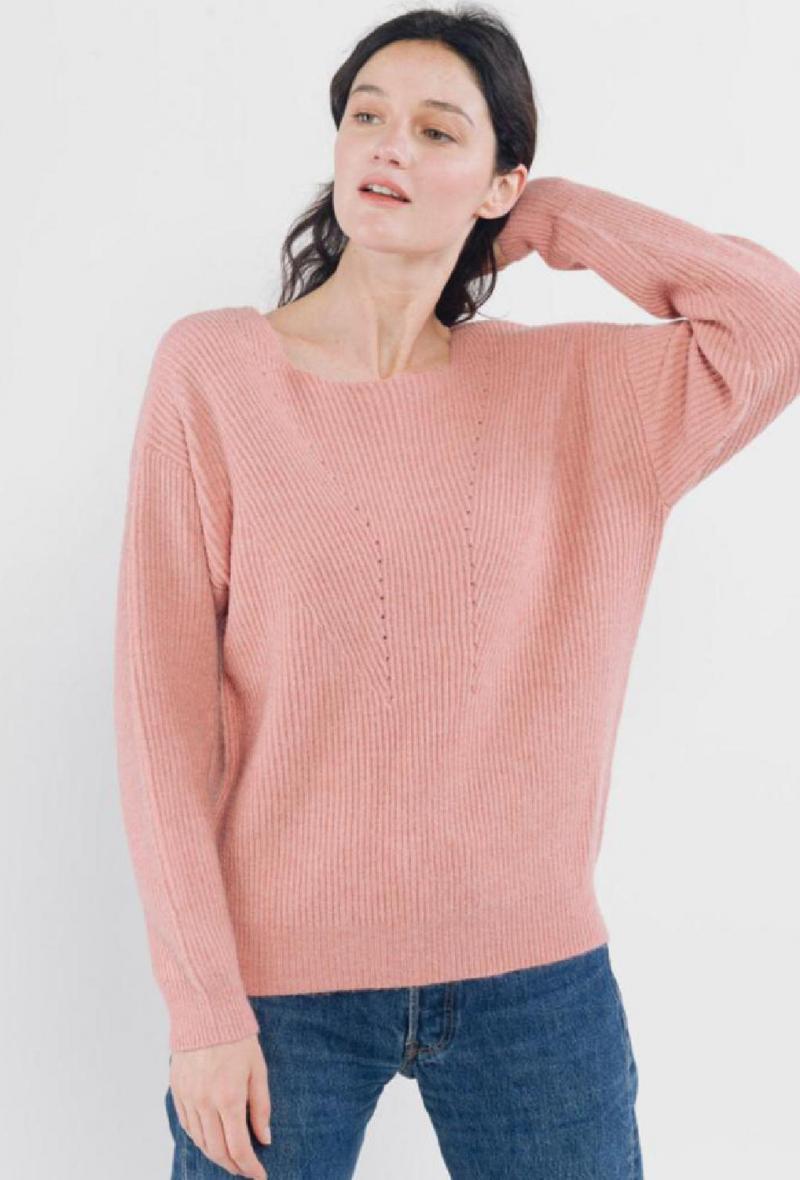 maglia comoda scollo quadrato Rosa antico