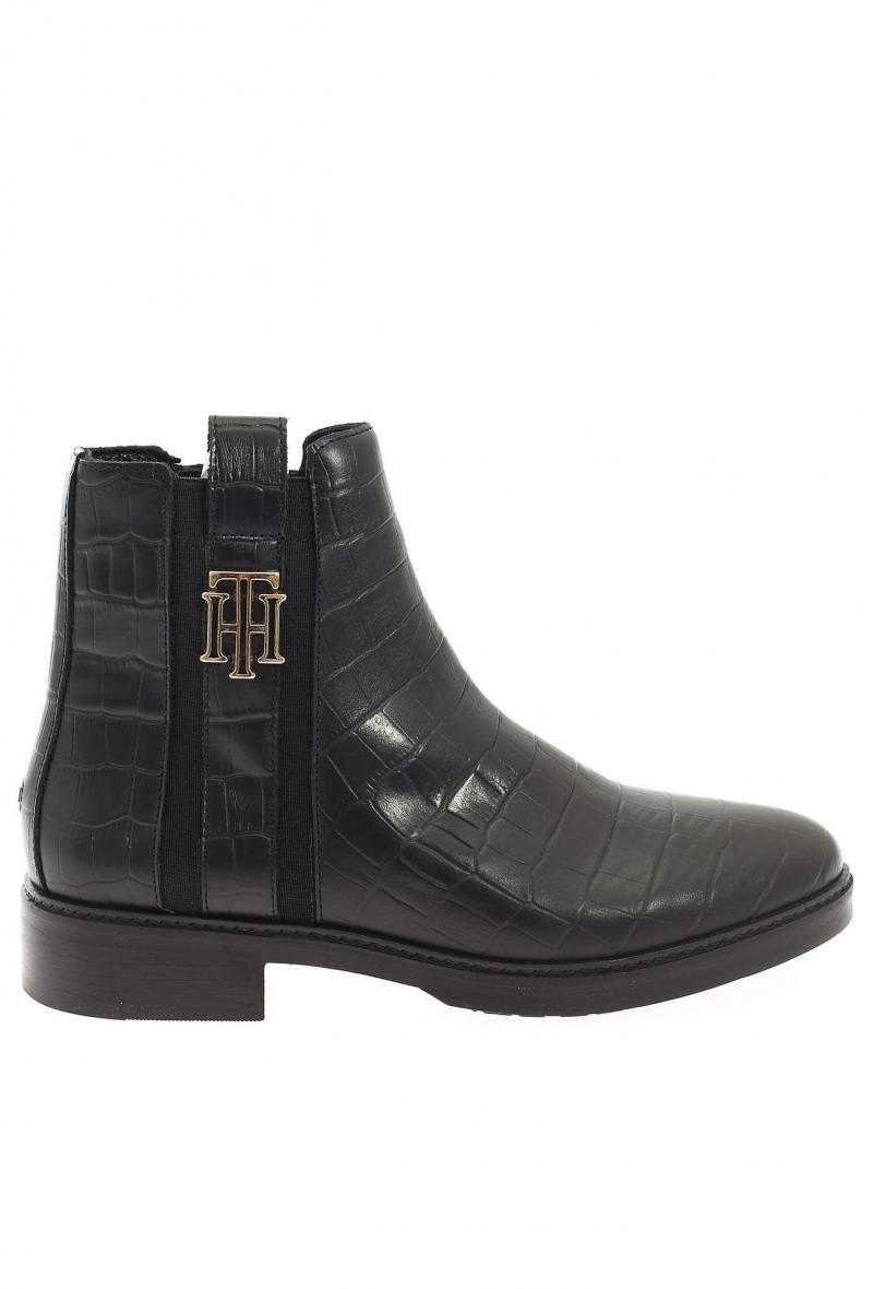 stivaletti in pelle stampa cocco/croco look dressy flat boot Nero