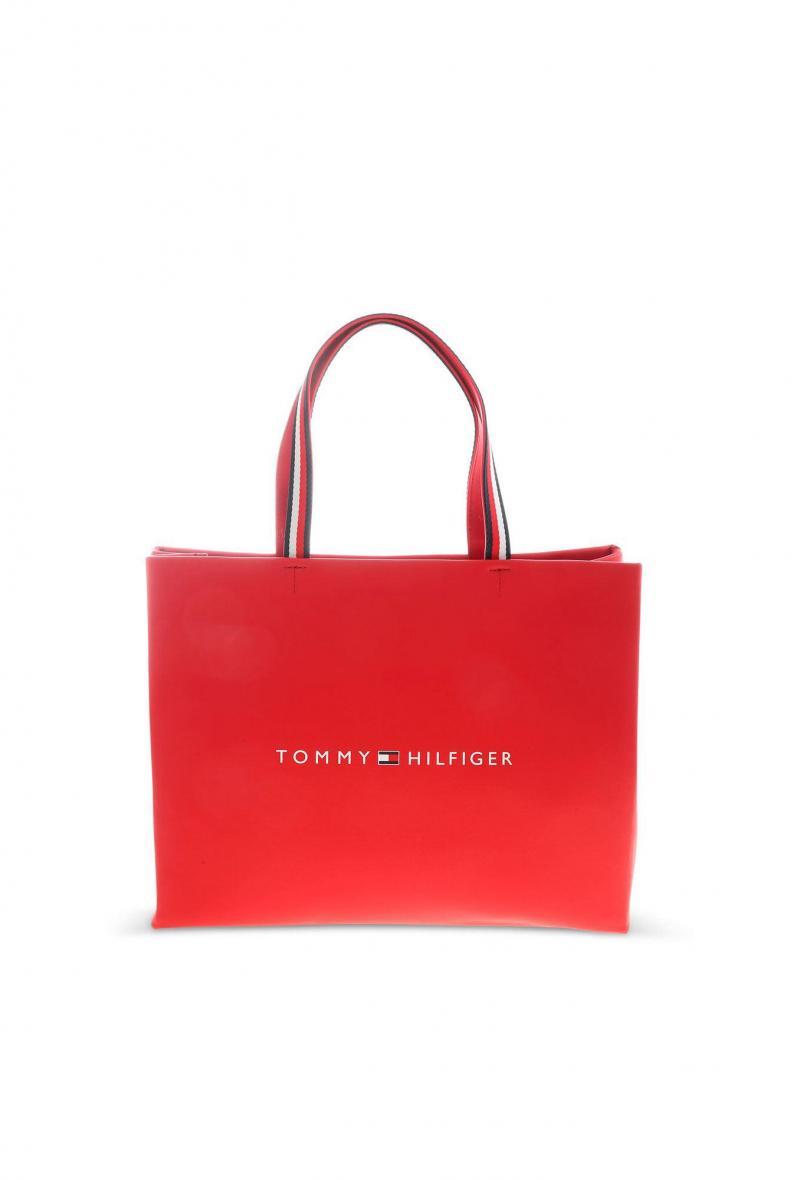 borsa shopper rossa con stampa logo/tommy shopping bag