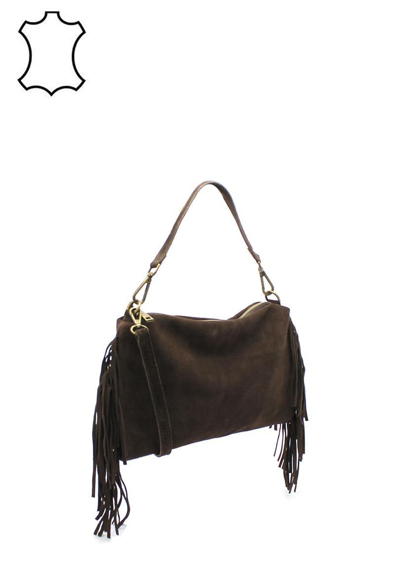 borsa marrone in cuoio scamosciato con frange+tracolla
