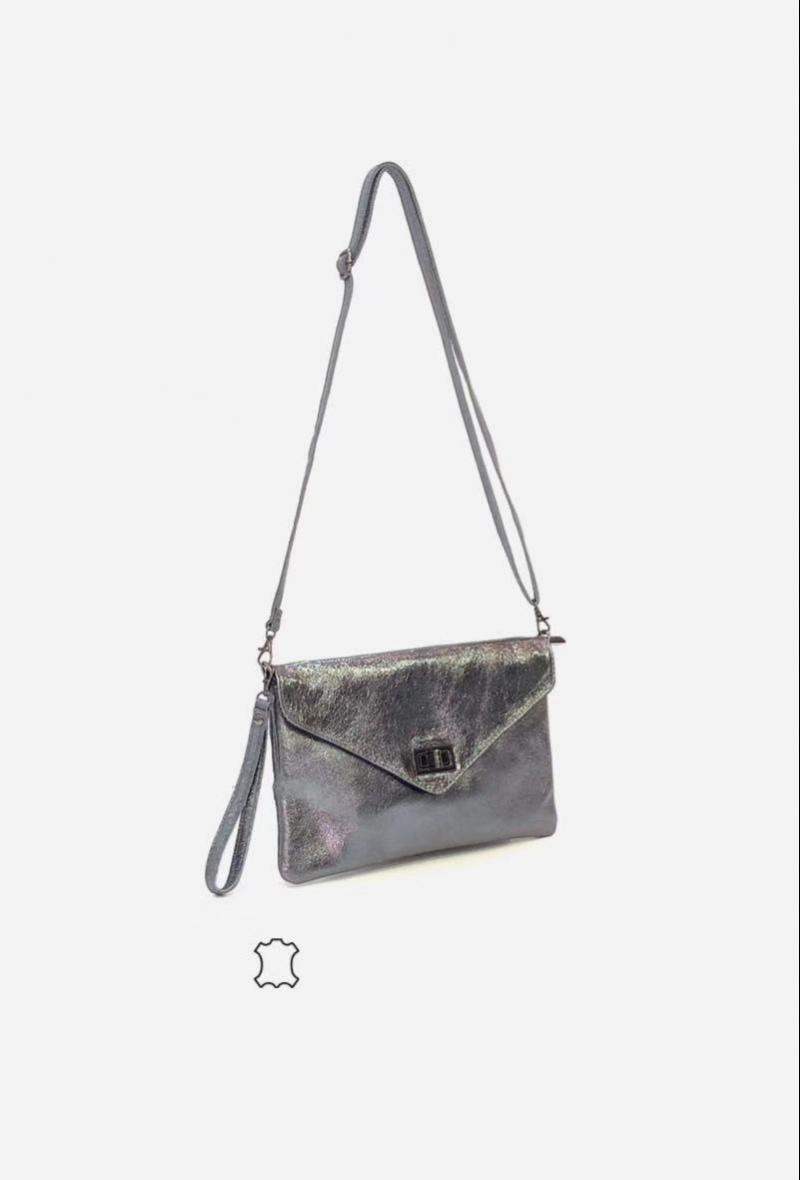borsetta nera a tracolla con patta effetto brillante Grigio scuro