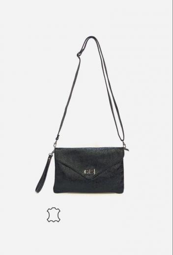borsetta nera a tracolla con patta effetto brillante