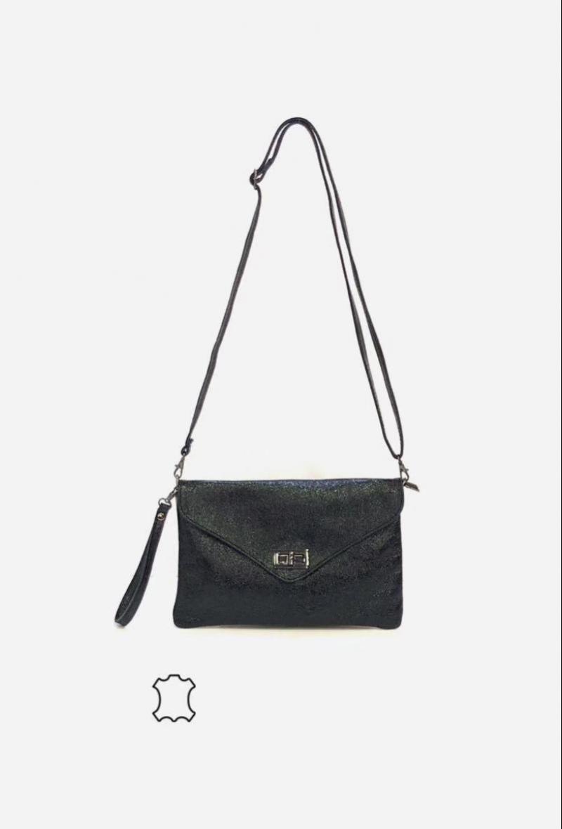 borsetta nera a tracolla con patta effetto brillante Nero
