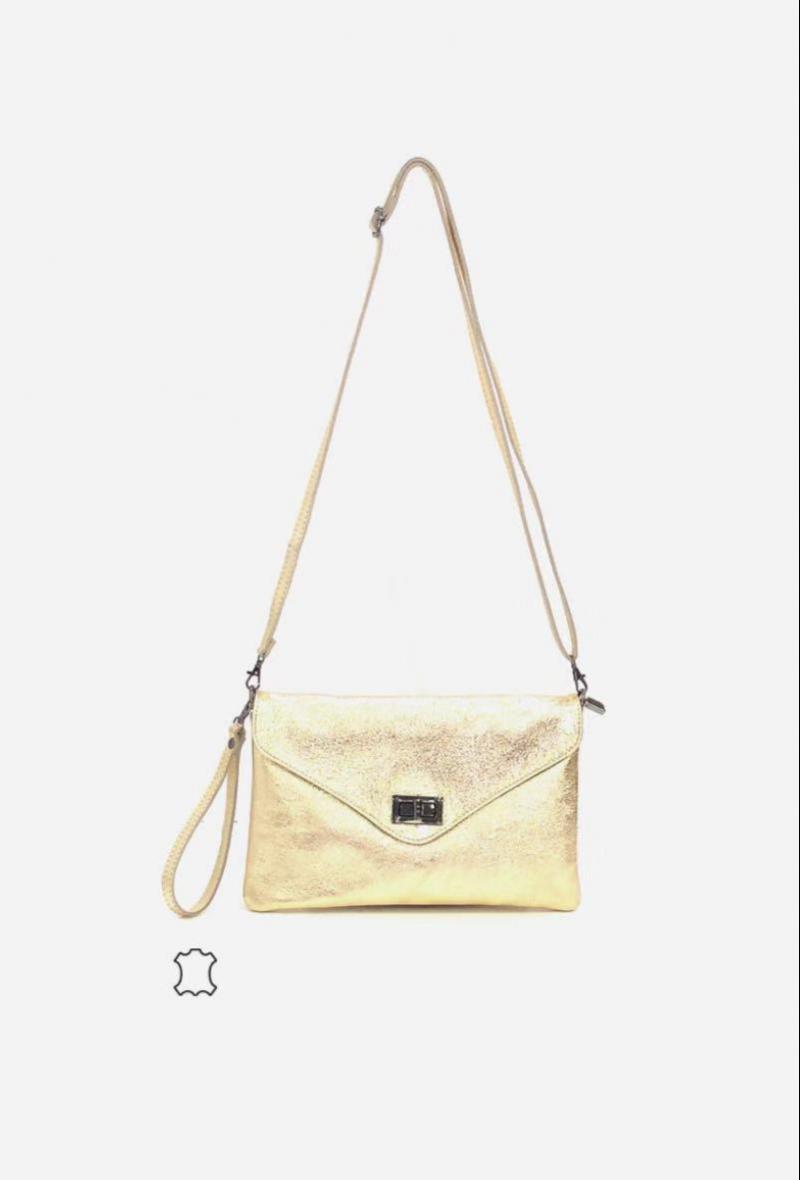 borsetta nera a tracolla con patta effetto brillante Oro