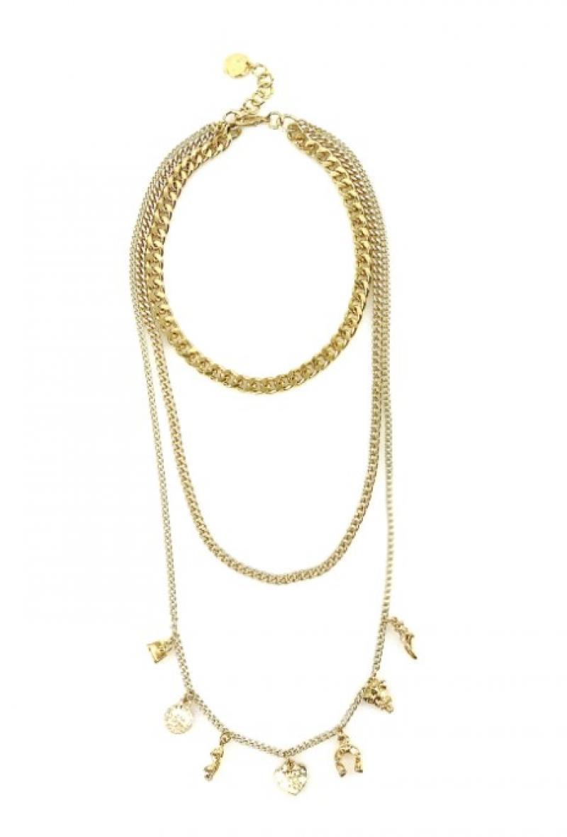 Collana a tripla catena con charms Oro<br />(<strong>Canonica 63</strong>)
