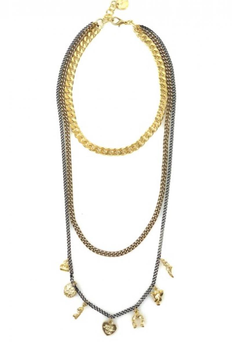 Collana a tripla catena con charms Oro e nera<br />(<strong>Canonica 63</strong>)