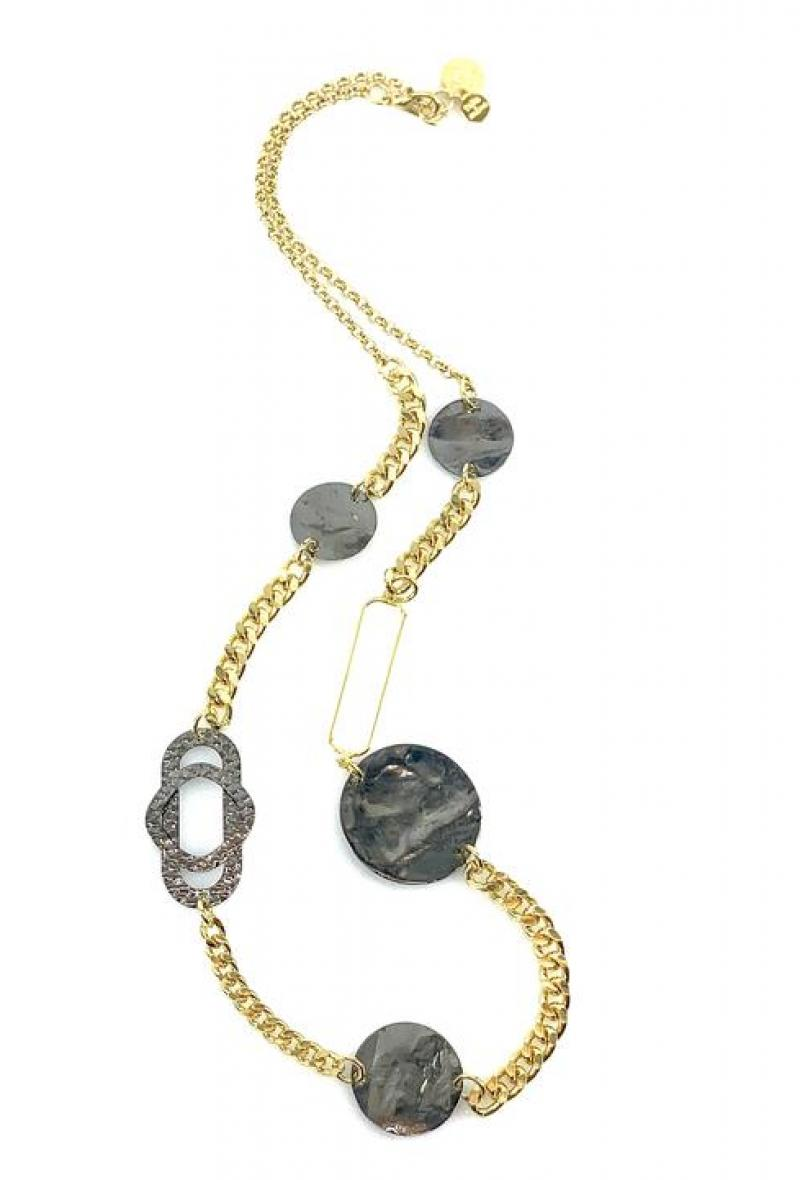 Collana a catene con dettagli geometrici Oro e alluminio<br />(<strong>Canonica 63</strong>)