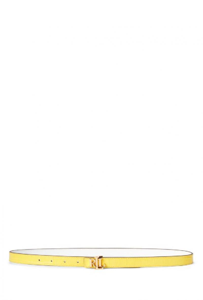 Cintura reversibile in pelle stampa coccodrillo Giallo/bianco<br />(<strong>Lauren ralph lauren</strong>)