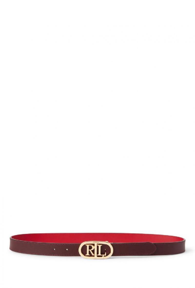 Cintura reversibile con fibbia ovale alta cm 2,5 Bordeaux e rosso<br />(<strong>Lauren ralph lauren</strong>)