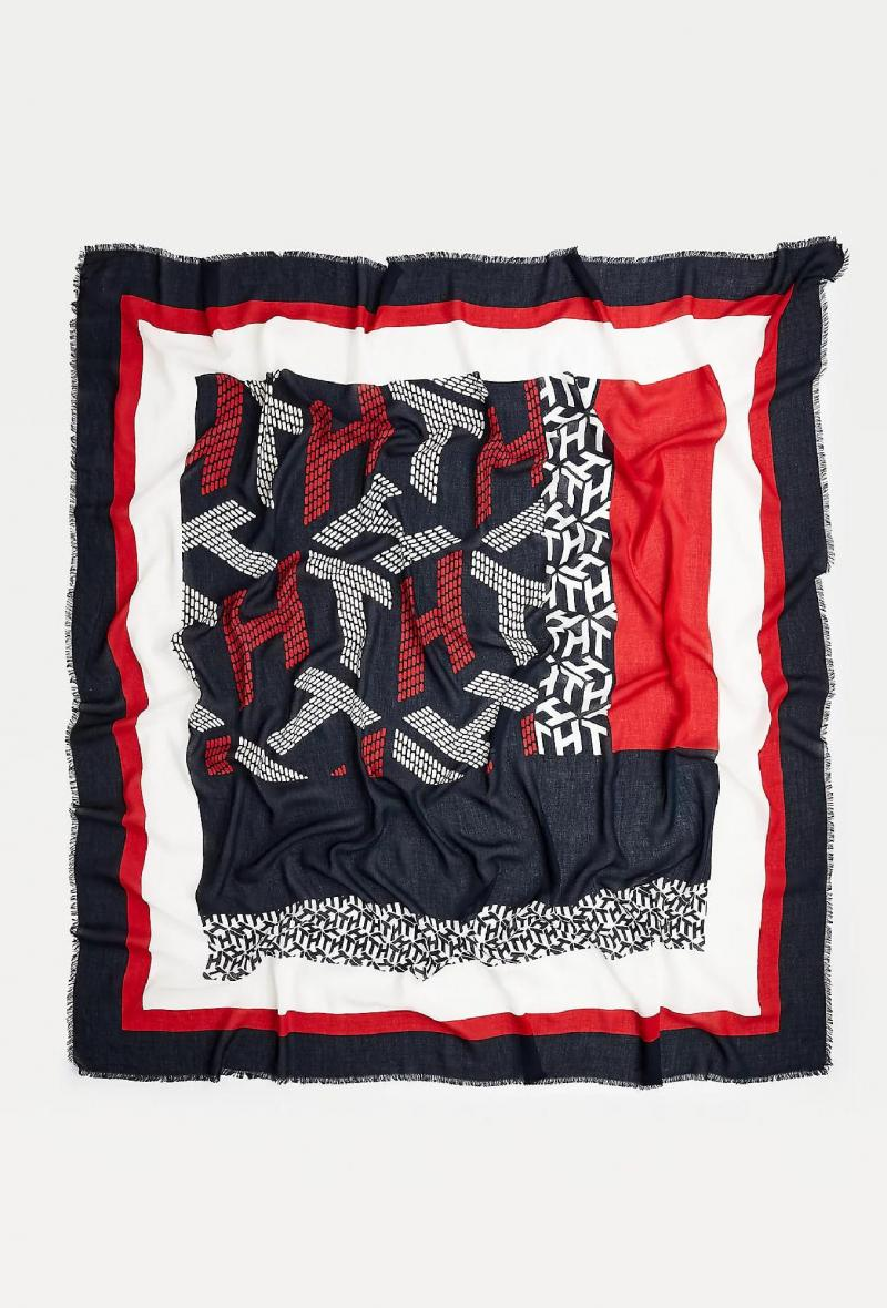 Foulard con monogramma Blu/rosso/bianco<br />(<strong>Tommy hilfiger</strong>)