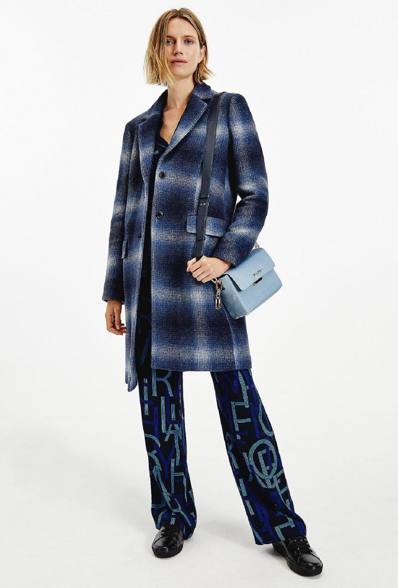 Cappotto monopetto a quadri Blu<br />(<strong>Tommy hilfiger</strong>)