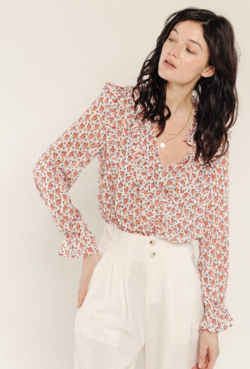 Camicia velata a  fiorellini Bianco/rosso