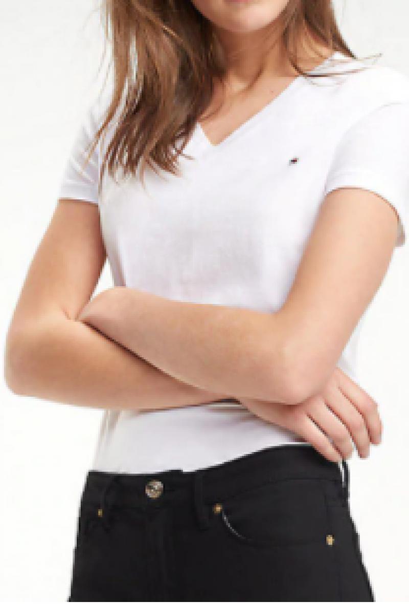 T-shirt blu mezza manica scollo a v/heritage v-neck tee Bianco<br />(<strong>Tommy hilfiger</strong>)