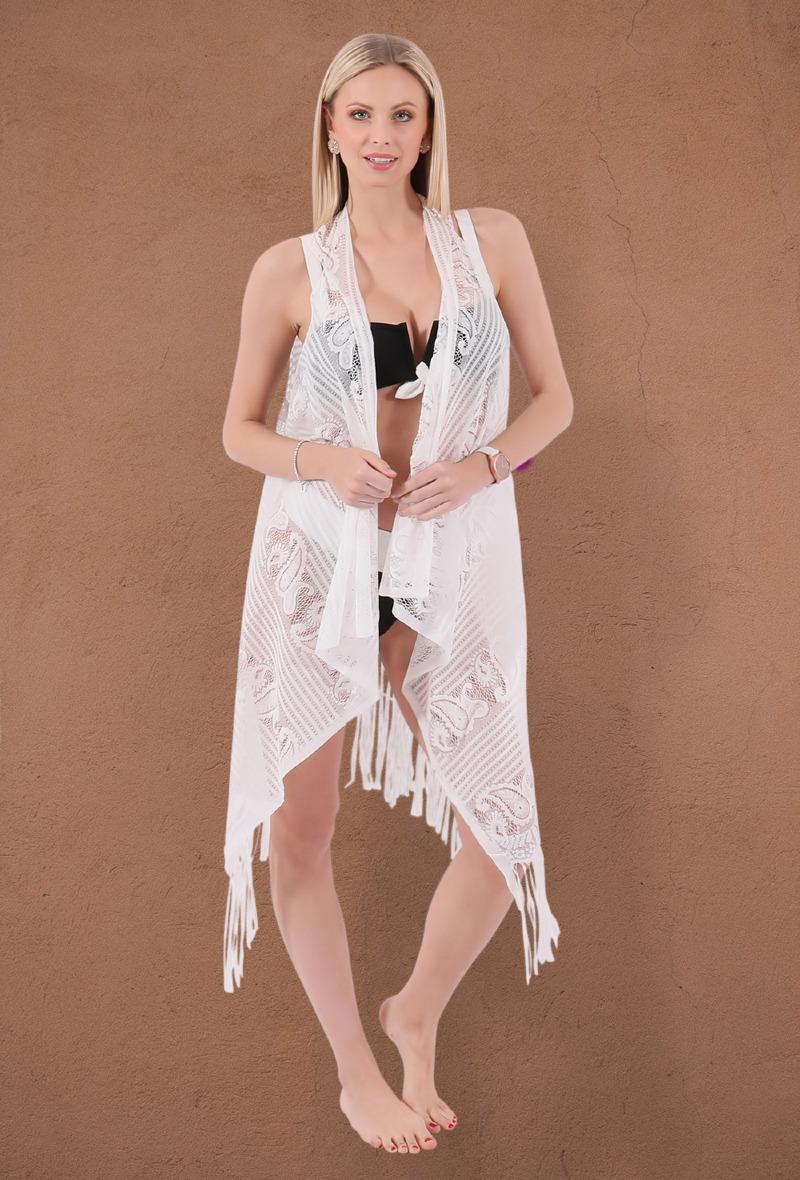 Poncho in pizzo da spiaggia Bianco<br />(<strong>Atmosphere fashion</strong>)
