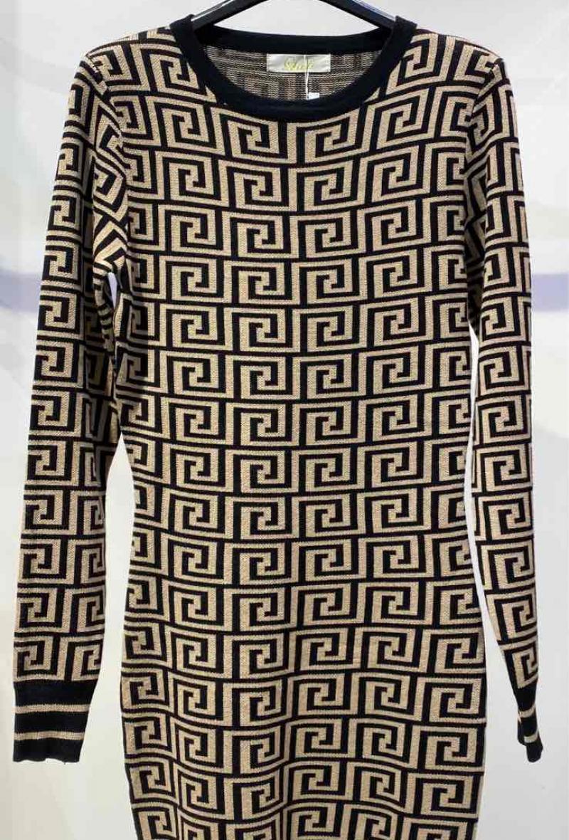 abito in maglia aderente stampato Beige/nero<br />(<strong>Big liulì</strong>)