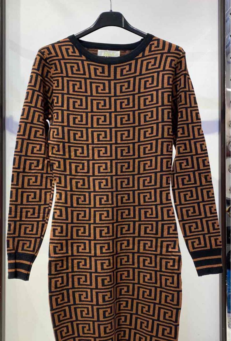 abito in maglia aderente stampato Marrone/nero<br />(<strong>Big liulì</strong>)