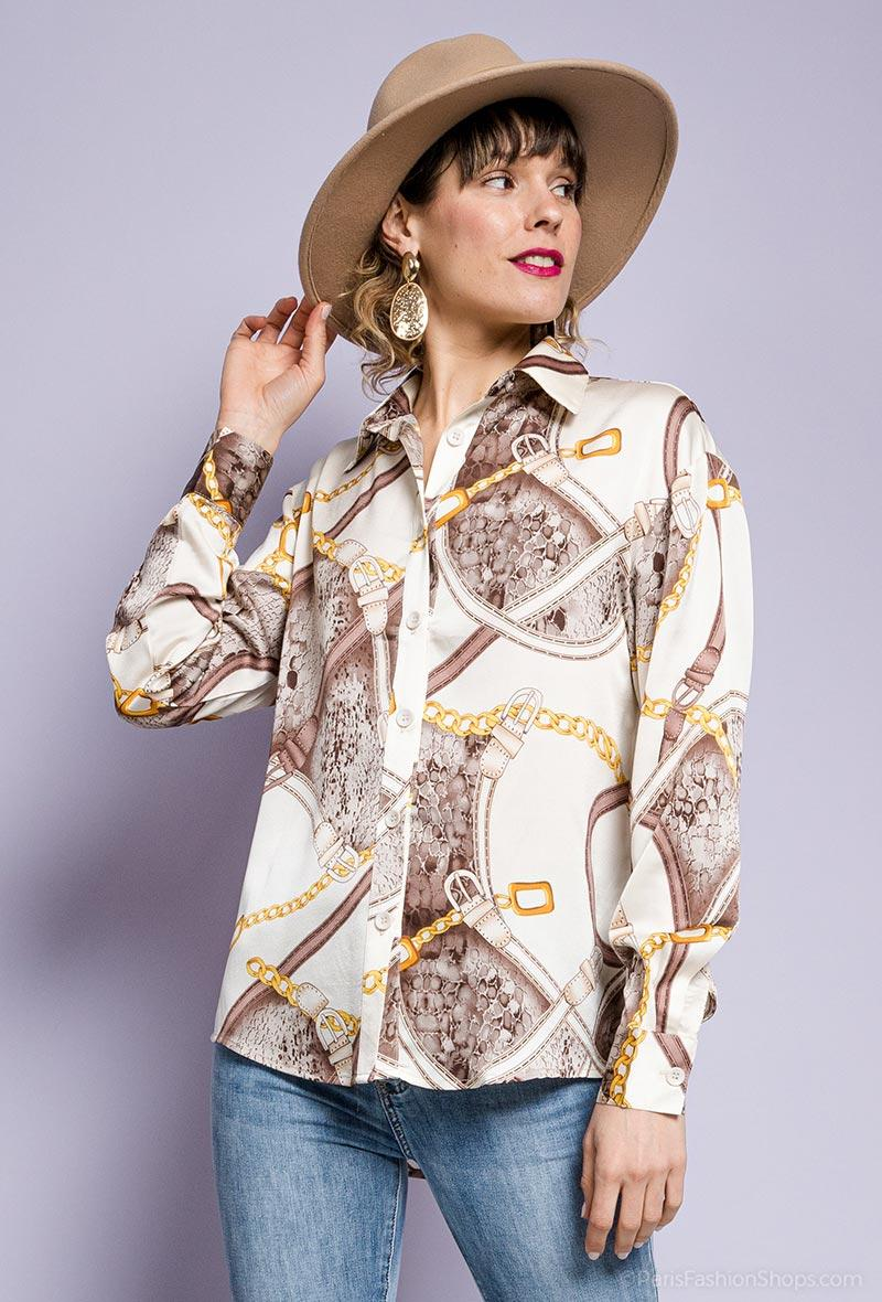 Camicia stampa equestre Beige<br />(<strong>By swan</strong>)
