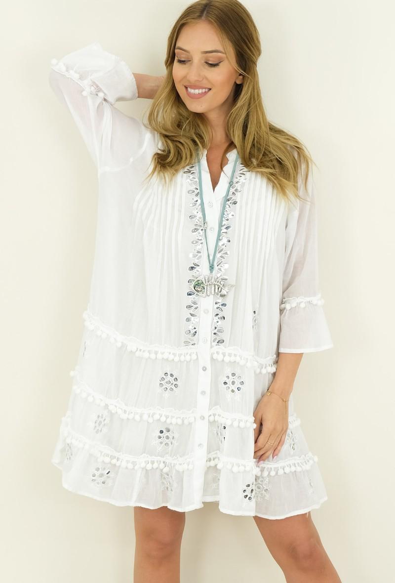 Mini abito fresco in cotone Bianco<br />(<strong>Capucine</strong>)