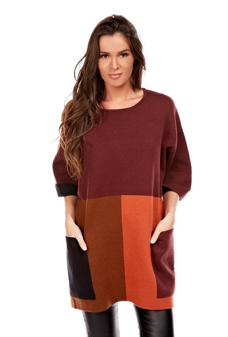 maglia over a tunica con tasche Bordeaux